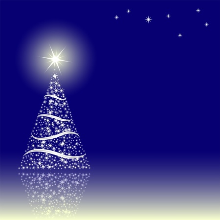 blue background with Christmas tree Stock Vector - 11455265