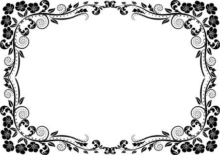 frontière silhouette avec décoration florale Vecteurs