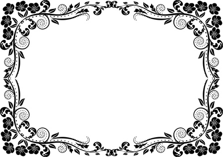 silhouette border with floral decoration Ilustrace