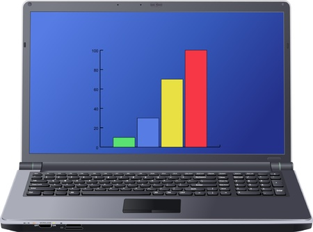 chart on laptop screen Vector