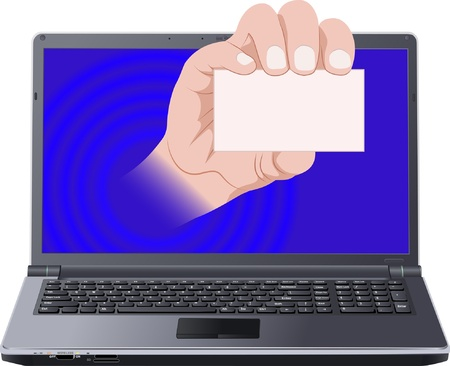 hand with card out laptop screen Stock Vector - 11671631