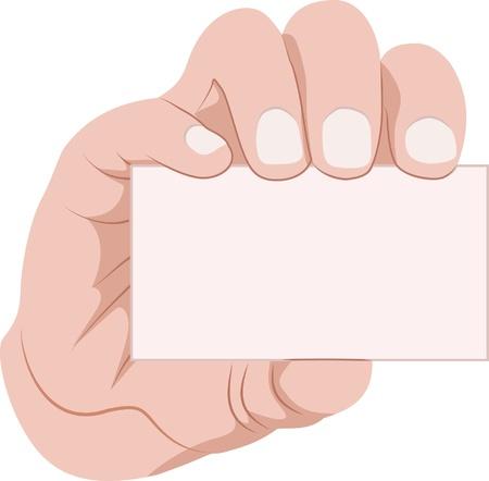 carte de visite vierge: carte d'affaires, main, tenue Illustration