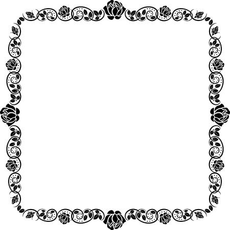 symmetric:  square frame roses