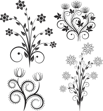 twirls: silhouette flowers Illustration