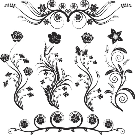 ornaments: silhouette flowers and ornaments floral