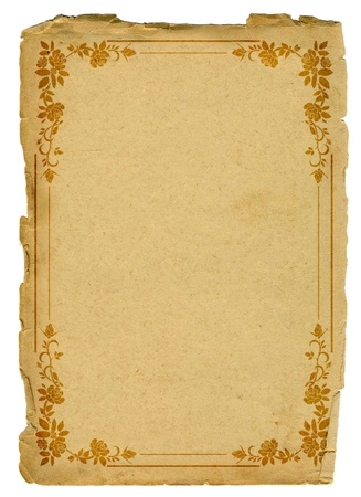 yellowed: old paper with border roses