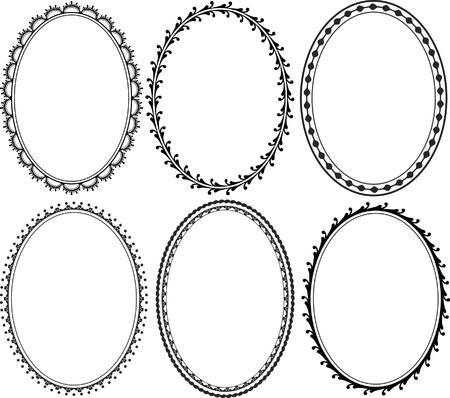 ovalo: adornados bordes ovalados Vectores