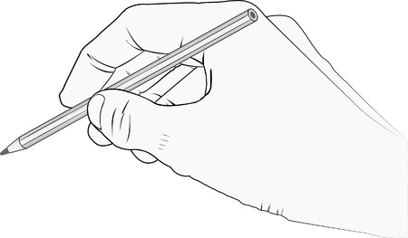 isolated hand with pencil Stock Vector - 11876977