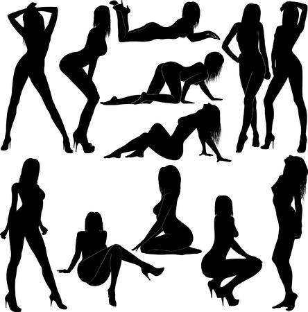 silhouette naked women Stock Vector - 11876984