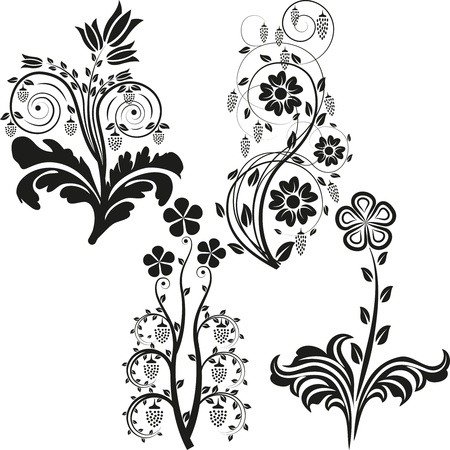 flower shape: flowers silhouette Illustration
