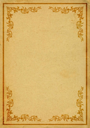 yellowed: old paper with decorated border
