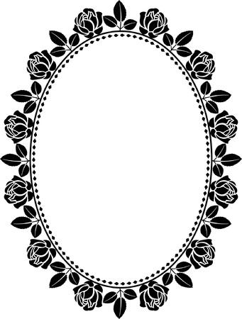 confine ovale con le rose Vettoriali