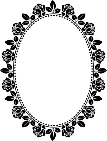 oval: oval border with roses  Illustration