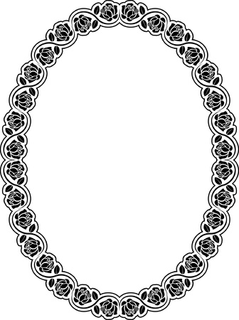 symmetrical design: oval frame with roses