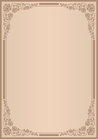 background for menu with frame roses Stock Vector - 11920597