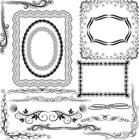 hoeken, randen en ornamenten Vector Illustratie