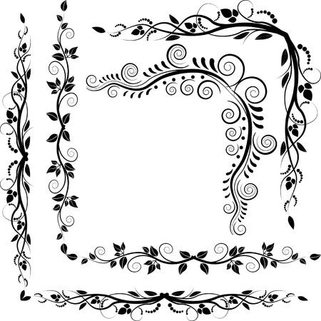 border silhouette: vector decorative corners plant