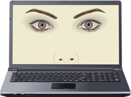 face on laptop screen Stock Vector - 12085192