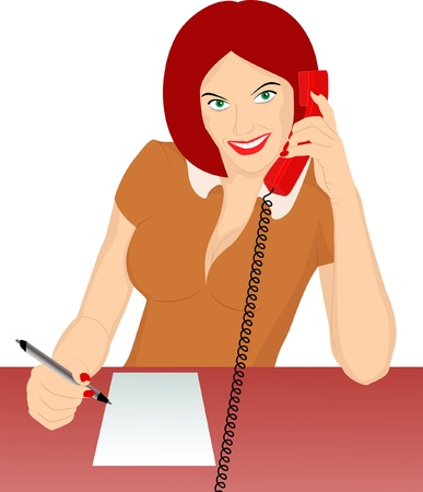 answering call: secretary answering phone and recorded Illustration