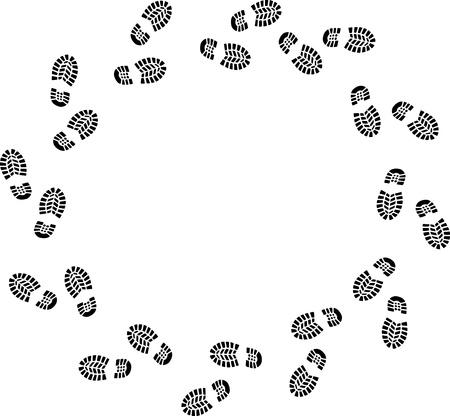 footstep: walk around Illustration