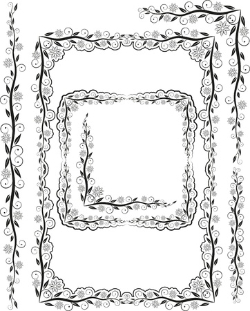 flower clip art: frames corners and ornaments Illustration