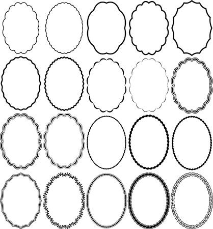 óvalo: marcos ovalados Vectores