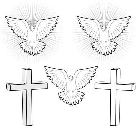 cross and wings: Esp�ritu Santo y la cruz Vectores