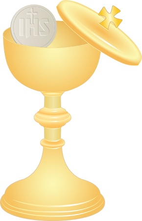 altar: communion cup and host