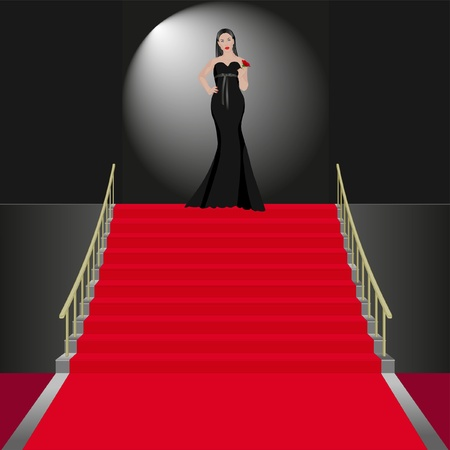 woman stairs: show women in black dress