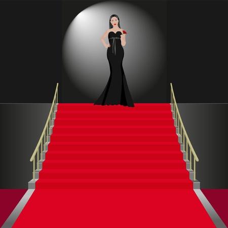 tiers: show women in black dress