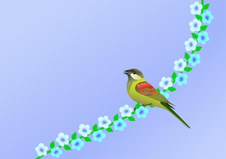 little bird: fondo azul con pajarita y las flores Vectores