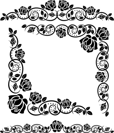 corners with roses decoration Stock Vector - 12326664