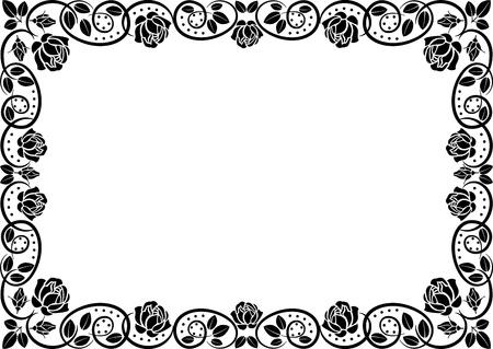 corner border: horizontal frame roses Illustration