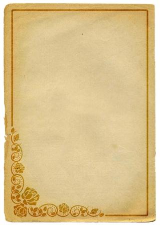 papel quemado: papel viejo con rosas esquinas decorativas