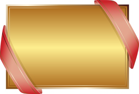 golden background with ribbons Vector