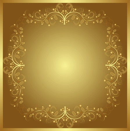brass plate: golden background with floral ornaments