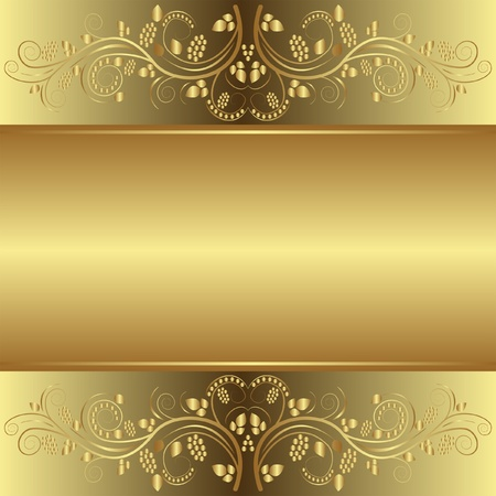 golden background with floral ornaments Stock Vector - 12326670