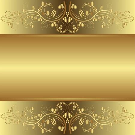 Sfondo dorato con ornamenti floreali Archivio Fotografico - 12326670