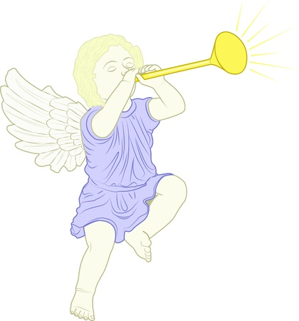cupid played trumpet Vector