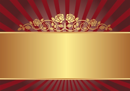 metallic background: red and gold background with roses Illustration