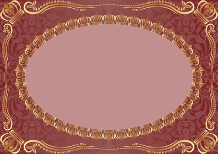 purple background with gold ornaments Vector