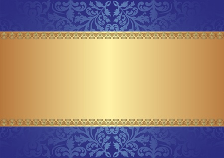 metallic border: gold blue background with ornaments Illustration