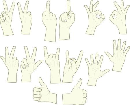 three hands: sketching of hand gestures