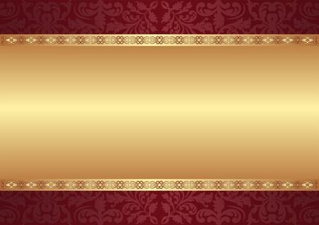 vermelho: fundo marrom e dourado com ornamentos