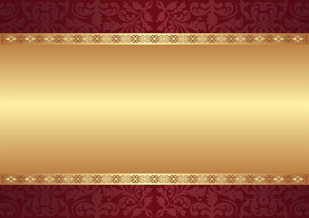 maroon and gold background with ornaments Vector