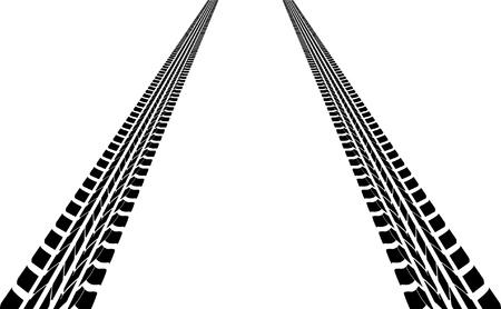 loin: des traces de pneus menant loin Illustration