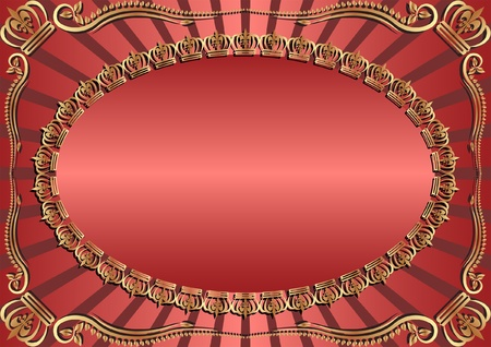 red and gold background with crowns Stock Vector - 12488686
