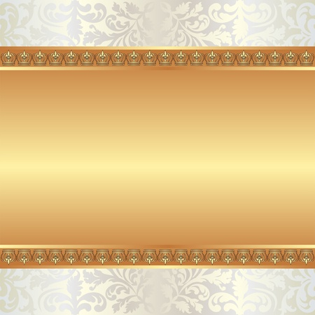 arts backgrounds: golden background with ornaments and copy space Illustration