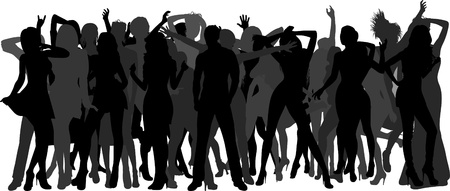 enthusiastic: Silhouettes of dancing people