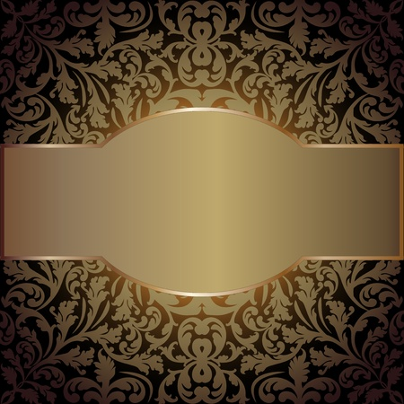 quadrat: golden background with floral ornaments and copy space